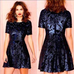 NWOT J. By J.O.A. Navy Velvet & Sequin Dress. M